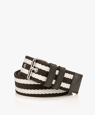 By Malene Birger Canvas Striped Belt - Black/White