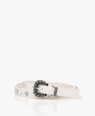 Zadig & Voltaire Santa Kioki Narrow Leather Belt - White