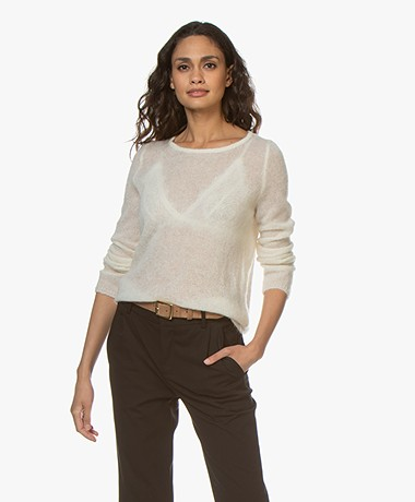 no man's land Delicate Mohair Mix Trui - Ivory