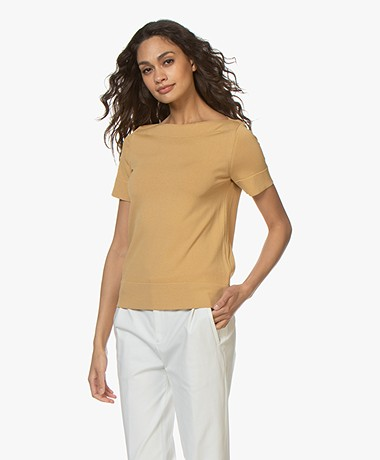 LaSalle Short Sleeve Boat Neck Sweater - Gold Yellow