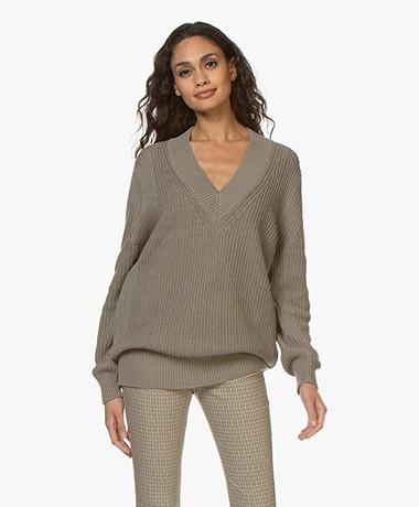Repeat Cotton Fisherman's V-neck Sweater - Khaki