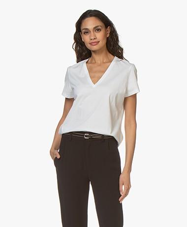 Drykorn Nilia Cotton V-neck T-shirt - White