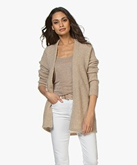 no man's land Mid-length Open Cardigan - Oatmeal