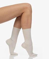 Filippa K Zijden Rib Sokken - Almond White