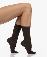 Filippa K Silk Rib Socks - Dark Oak