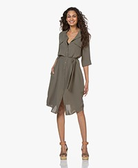 Woman By Earn Tes Crêpe Twill Blousejurk - Army