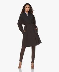 Woman By Earn Fien Tech Jersey Blazer Coat - Navy