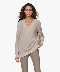 Repeat Cotton Fisherman's V-neck Sweater - Desert