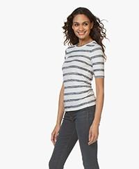 Rag & Bone The Knit Striped T-shirt - White/Navy