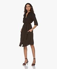 Woman By Earn Tes Crepe Twill Shirt Dress - Black