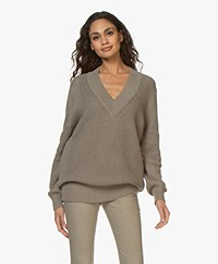 Repeat Cotton Fisherman's V-neck Sweater - Khaki