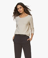 no man's land Cotton Cropped Sleeve Sweater - Soft Sand