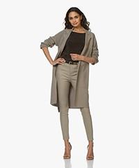 Repeat Long Cotton Blazer Cardigan - Khaki