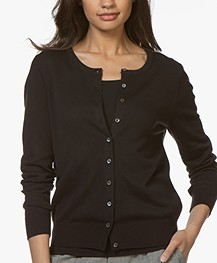 Repeat Classic Short Cotton Blend Cardigan - Black