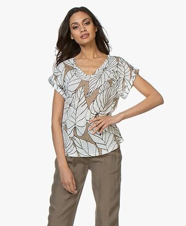 Majestic Filatures Linnen T-shirt met Print - Ficelle