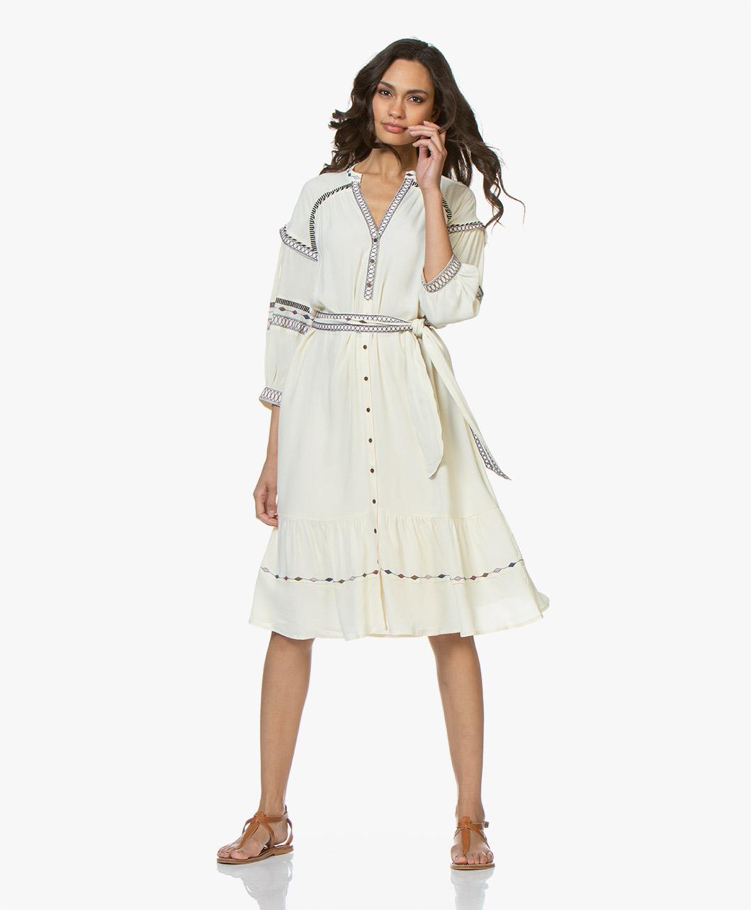 93f3321642f ba sh Patty Embroidered Crepe Shirt Dress - Off-white - 1e19patt off