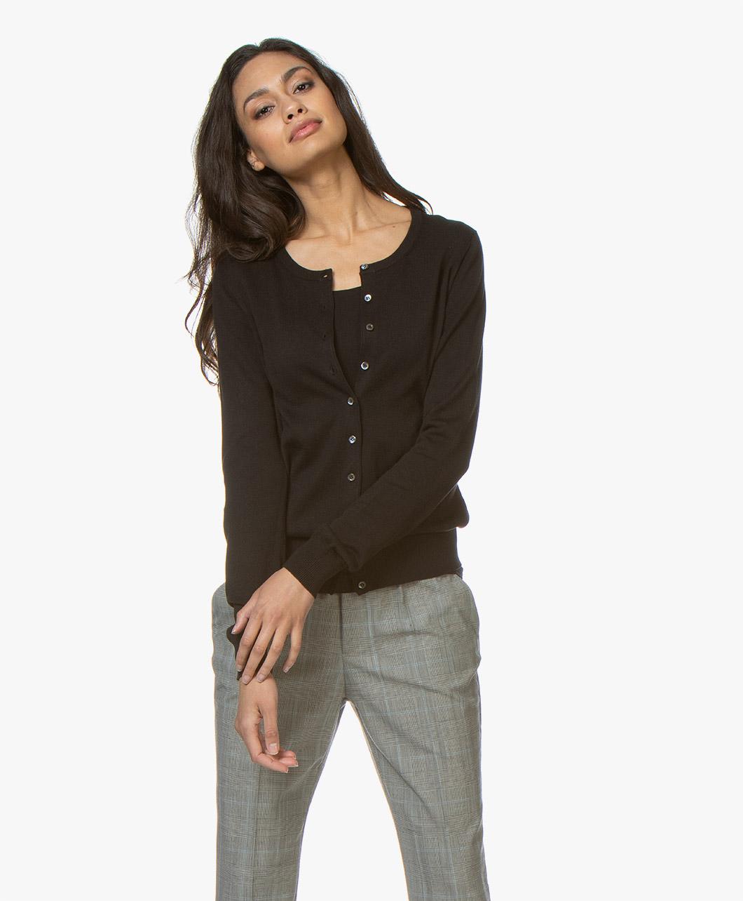 7aba1925b58 Repeat Classic Short Cotton Blend Cardigan - Black - 400053 1025