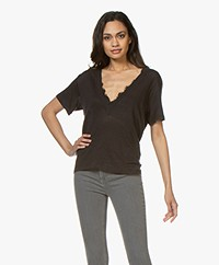 IRO Jahal V-neck Pure Cotton T-shirt - Black