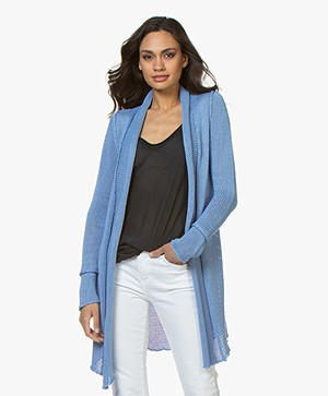BRAEZ Knitted Open Cardigan in Cotton - Bright Blue