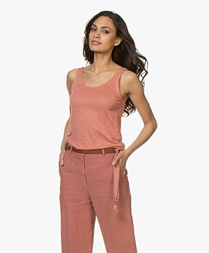 Closed Linnen Tanktop - Sepia Rose