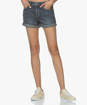 Current/Elliot The Boyfriend Rolled Denim Short - Blauw 1 Yearn Worn