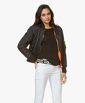 IRO Astilon Reversible Bomber Jacket - Black/Orange
