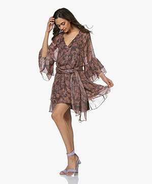 IRO Vanille Chiffon Print Dress with Ruffles - Brown