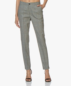 LaSalle Checked Wool Blend Pants - Sky
