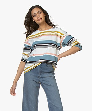 Petit Bateau Boxy Striped Long Sleeve - Marshmallow/Multi