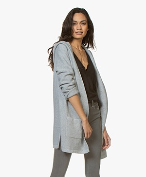 Repeat Half Long Open Hooded Cardigan - Grey
