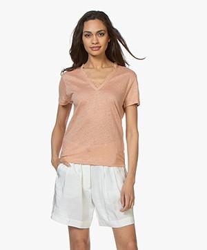 Vanessa Bruno Idole Linnen V-hals T-shirt - Caramel