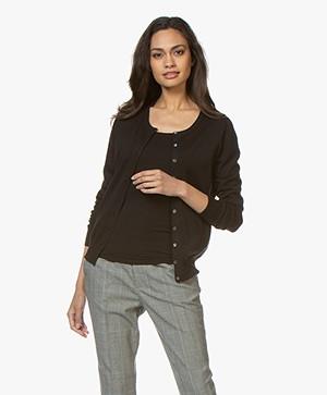 Repeat Classic Short Cotton Blend Cardigan - Black