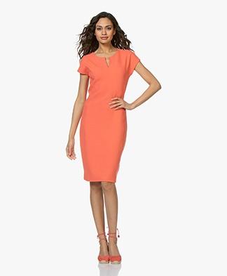 Kyra & Ko Kirsten Honeycomb Slit Neck Dress - Coral