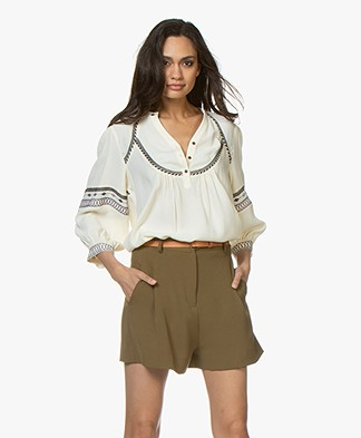 ba&sh Plume Crepe Embroidered Blouse - Off-white