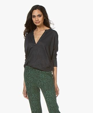 ba&sh Lexy Linen Cropped Sleeve T-shirt - Carbone