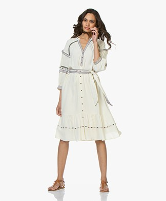 ba&sh Patty Embroidered Crepe Shirt Dress - Off-white