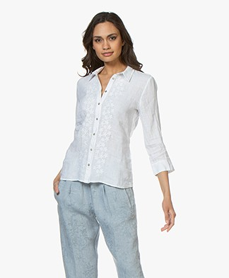 Belluna Camini Embroidered Linen Blouse - White