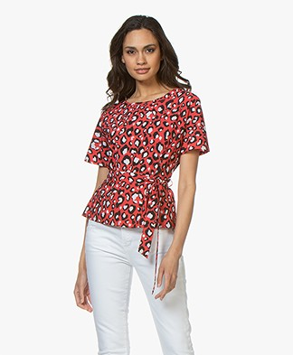 Josephine & Co Ronja Leopard Print T-Shirt - Red