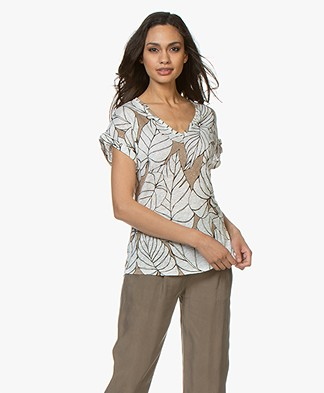 Majestic Filatures Linen T-shirt with Print - Ficelle
