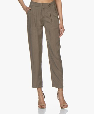 Denham Bend Cupro Blend Twill Pants - Olive Green