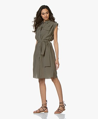 Drykorn Anike Viscose Shirt Dress - Khaki