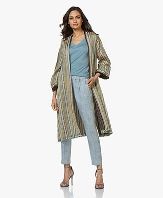 forte_forte Striped Lurex Blazer Coat - Peacock Multi