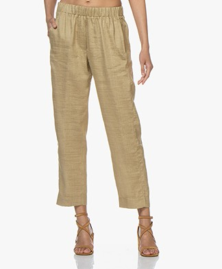 forte_forte Cropped Linnen Mix Broek - Oro