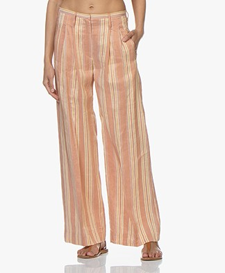 forte_forte Linen Blend Pleated Pants - Pompelmo Rosa