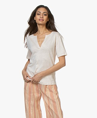 BY-BAR Loisa Linen T-shirt - Stone