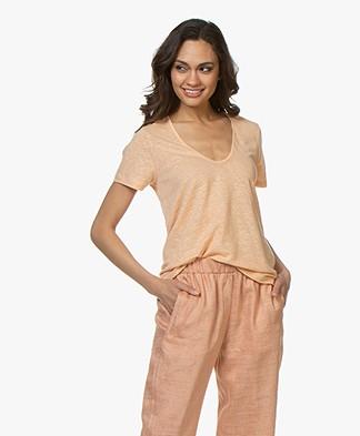 forte_forte Linen V-Neck T-Shirt - Albicocca