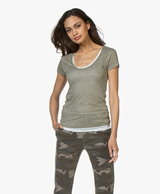 Majestic Filatures Double-layered Linen T-shirt - Army/White