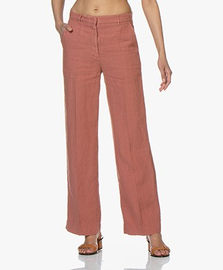 no man's land Wide Leg Linen Pants - Copper