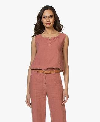 no man's land Pure Linen Split-neck Top - Copper