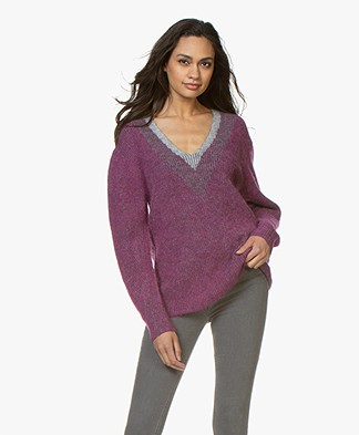Rag & Bone Jonie V-Neck Sweater - Magenta